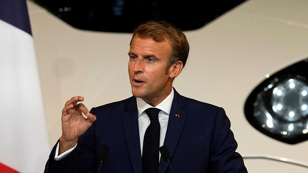El presidente francés, Emmanuel Macron, este viernes en un acto en París.