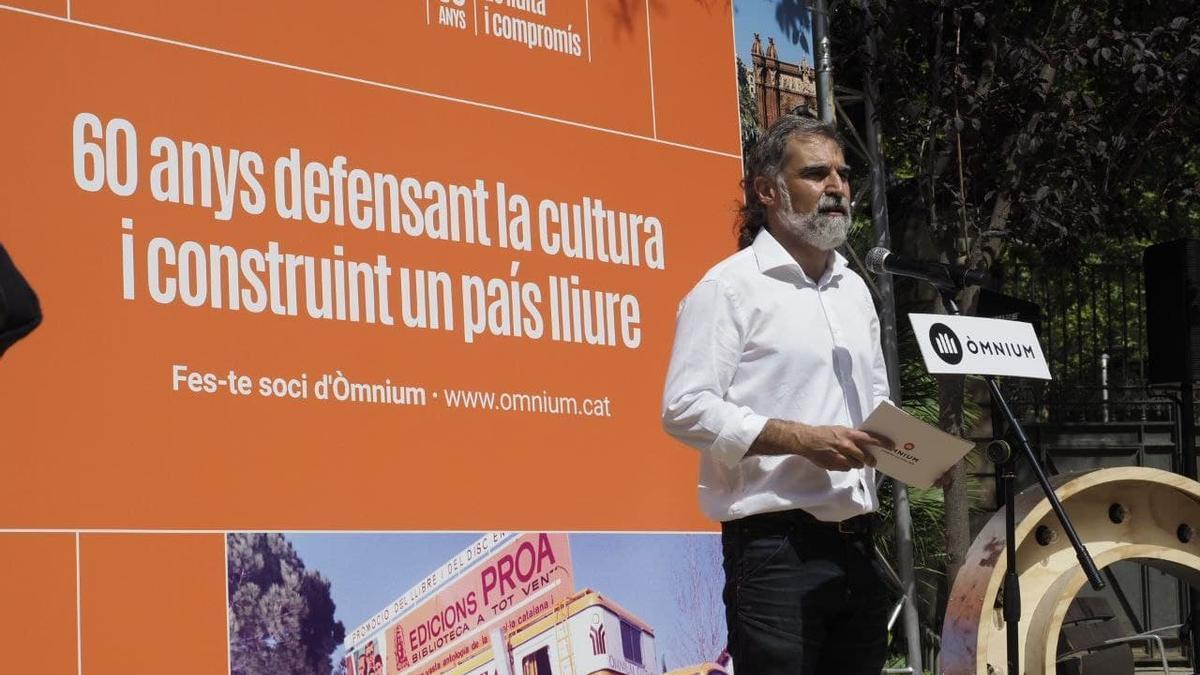 El president d'Òmnium, Jordi Cuixart, en la inauguració de l'exposició amb motiu del 60 aniversari de l'entitat