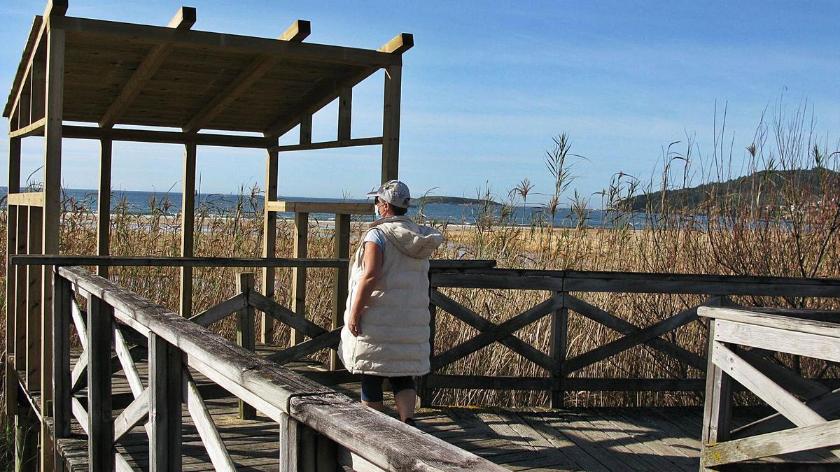 Una vecina, ayer, en la zona del observatorio de aves de Praia América que se está concluyendo en el Concello de Nigrán. |   // D.P.