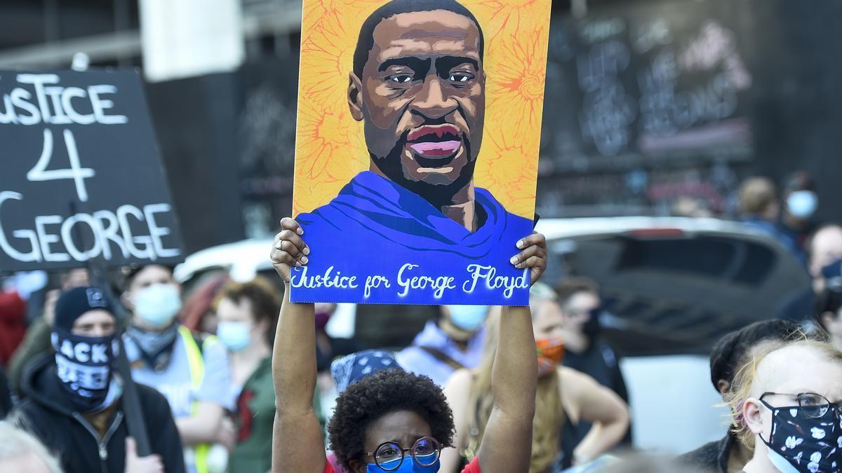 Una imagen de Floyd en una de las manifestaciones tras su muerte.