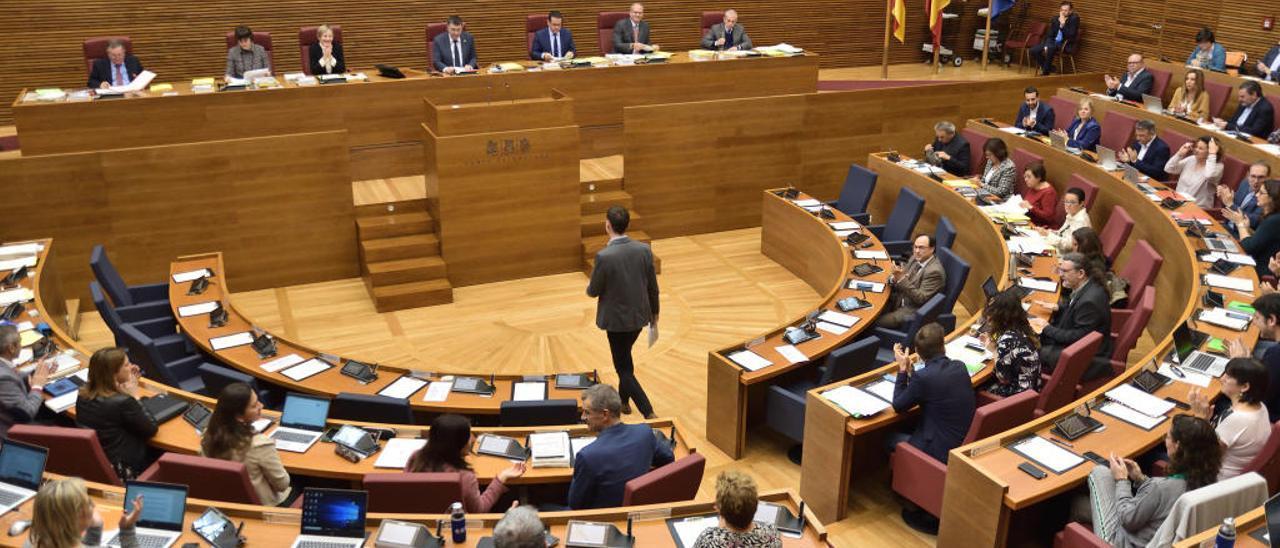 Un instante de la primera sesión del debate de presupuestos en las Cortes celebrado ayer.