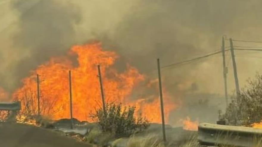 Los equipos de extinción luchan contra el fuego y el viento en La Palma