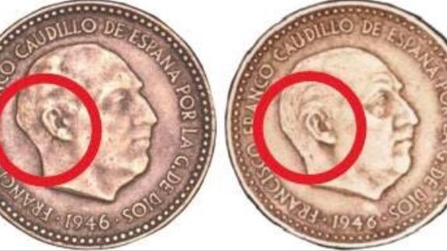 """El """"photoshop"""" de Franco en una peseta que vale más de 3.000 euros"""