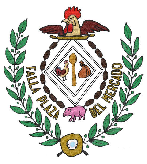 MERCADO CENTRAL. Caracterizado por estar compuesto por productos de mercado: una cuchara, una gallina, un cerdo, unas morcillas...