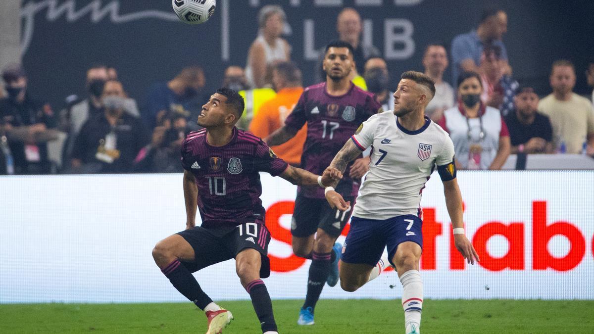 Orbelín Pineda, ayer, en la final de la Copa Oro contra Estados Unidos.