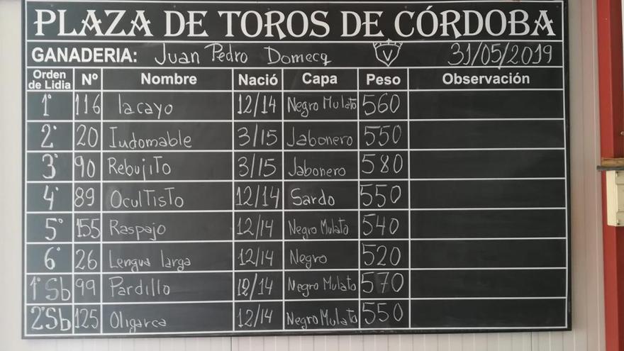 Seis toros de Juan Pedro Domecq para Finito, Morante y El Juli