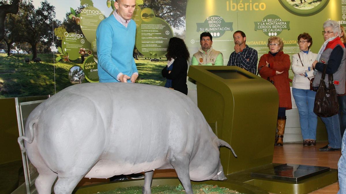 Visitantes atendiendo explicaciones en el Museo del Jamón