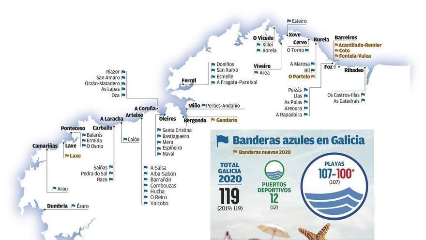 Mapa de las playas de A Coruña y Galicia con banderas azules