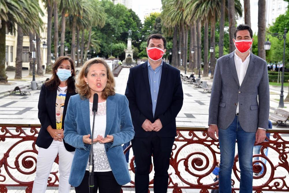 Nadia Calviño y Gonzalo Caballero en A Coruña