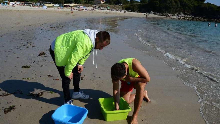 Miles de piojos marinos en la playa de Nerga provocan alerta entre los bañistas