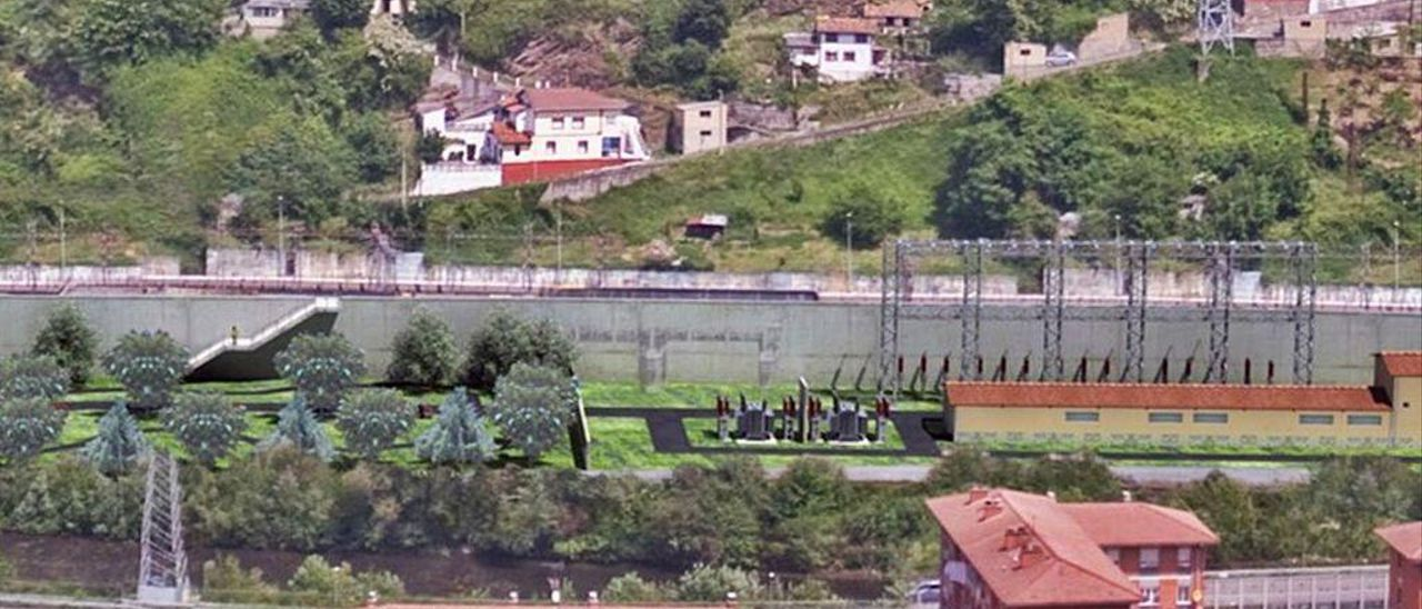 Recreación virtual que muestra cómo será la nueva subestación de Santa Cruz de Mieres tras la reforma.