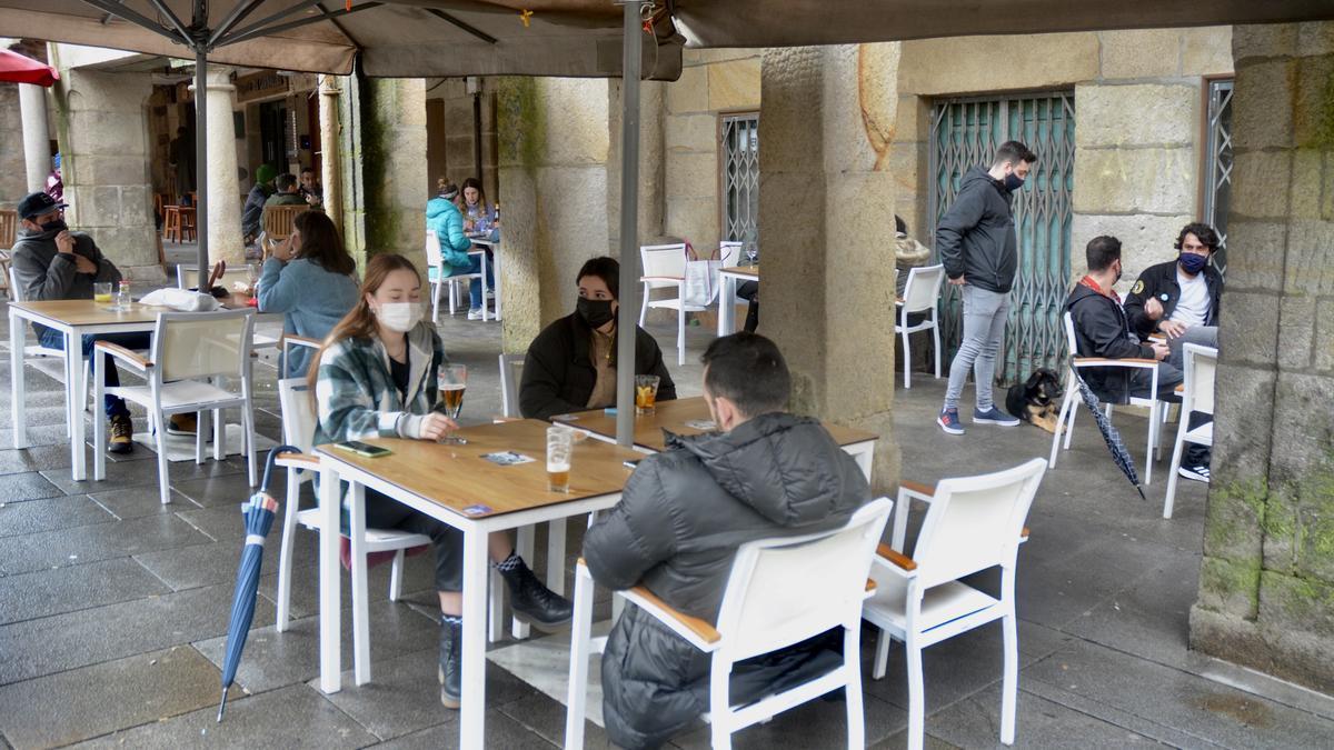 Una de las terrazas del centro de Pontevedra