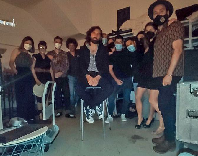 Alfredo González, con músicos colaboradores, antes de su concierto. | A. V.