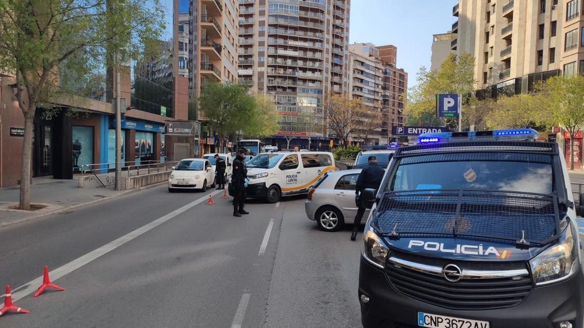 Controles policiales en Palma durante el estado de alarma.