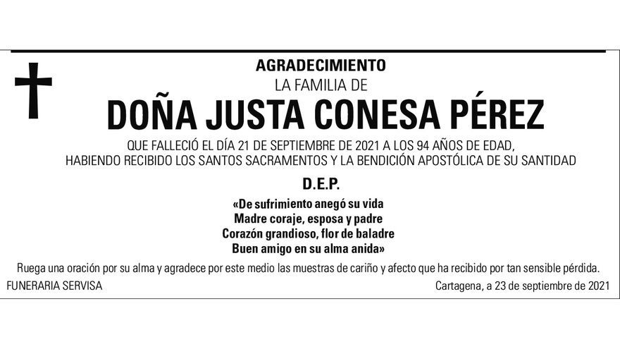Dª Justa Conesa Pérez