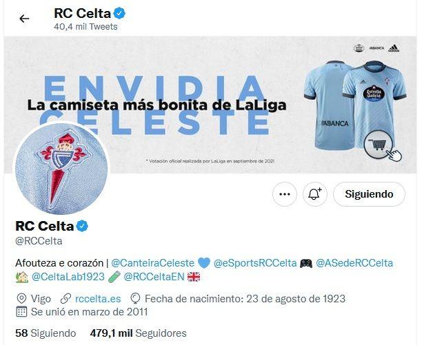 La biografía del perfil oficial del Celta en Twitter ha sido cambiada por una foto que alude a su campeonato logrado de la camiseta más bonita de LaLiga.