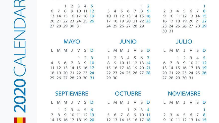 El calendario laboral de 2020 recoge 12 festivos