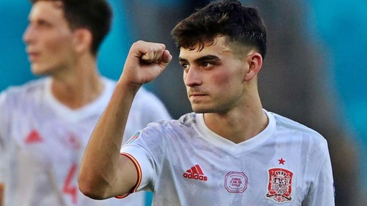 El tinerfeño Pedri González, con la selección absoluta, durante la pasada Eurocopa.