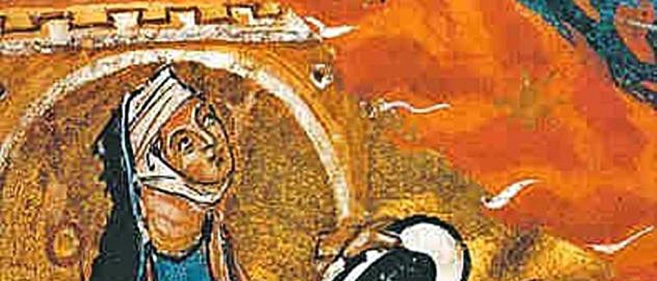 """Autorretrato de Hildegarda en la ilustración de su obra """"Liber divinorum operum""""."""