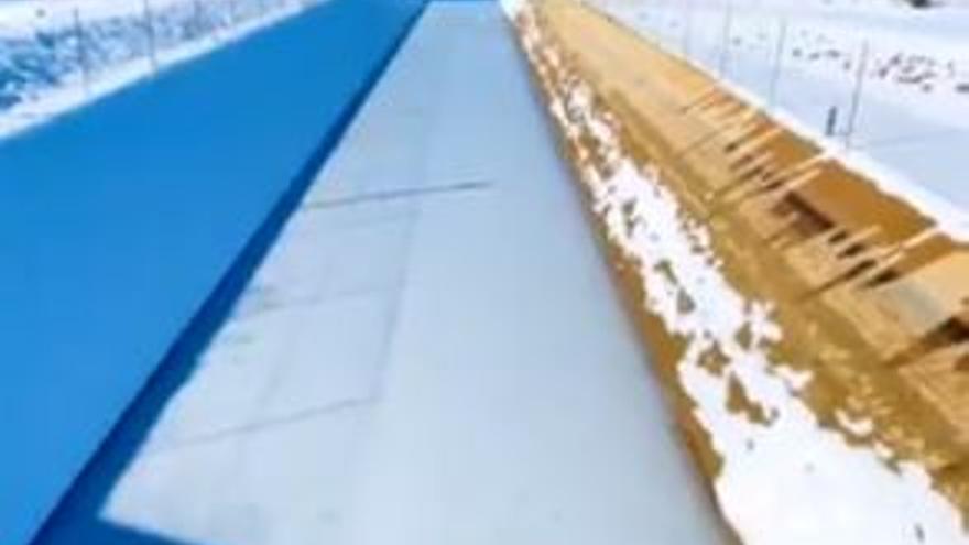 Las heladas que sacuden Castilla-La Mancha congelan  canales del  trasvase Tajo-Segura en Albacete
