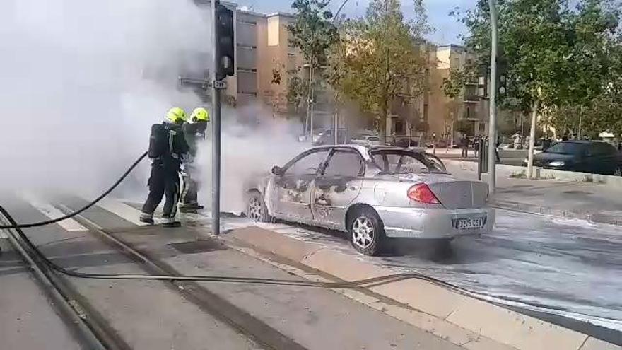 Un coche en llamas en la Avenida Gastón Castelló paraliza el tráfico