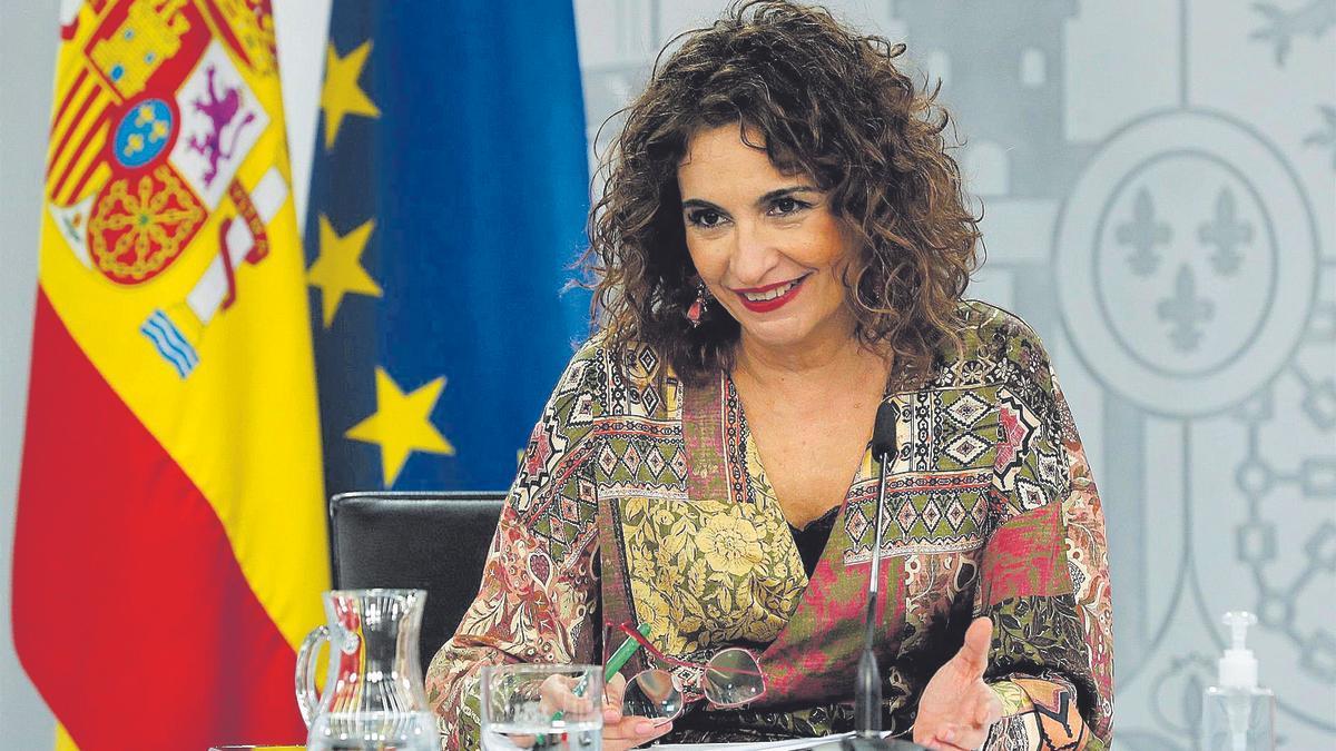 María Jesús Montero, ministra de Hacienda, durante una rueda de prensa