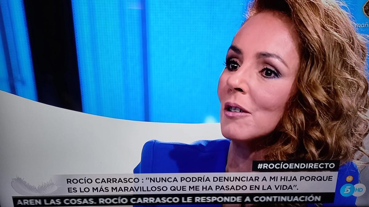 Rocío Carrasco, durante la entrevista de este miércoles.