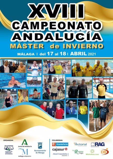 Cartel promocional del XVIII Campeonato de Andalucía máster de natación.
