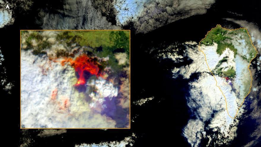 La erupción del volcán de La Palma, desde el espacio