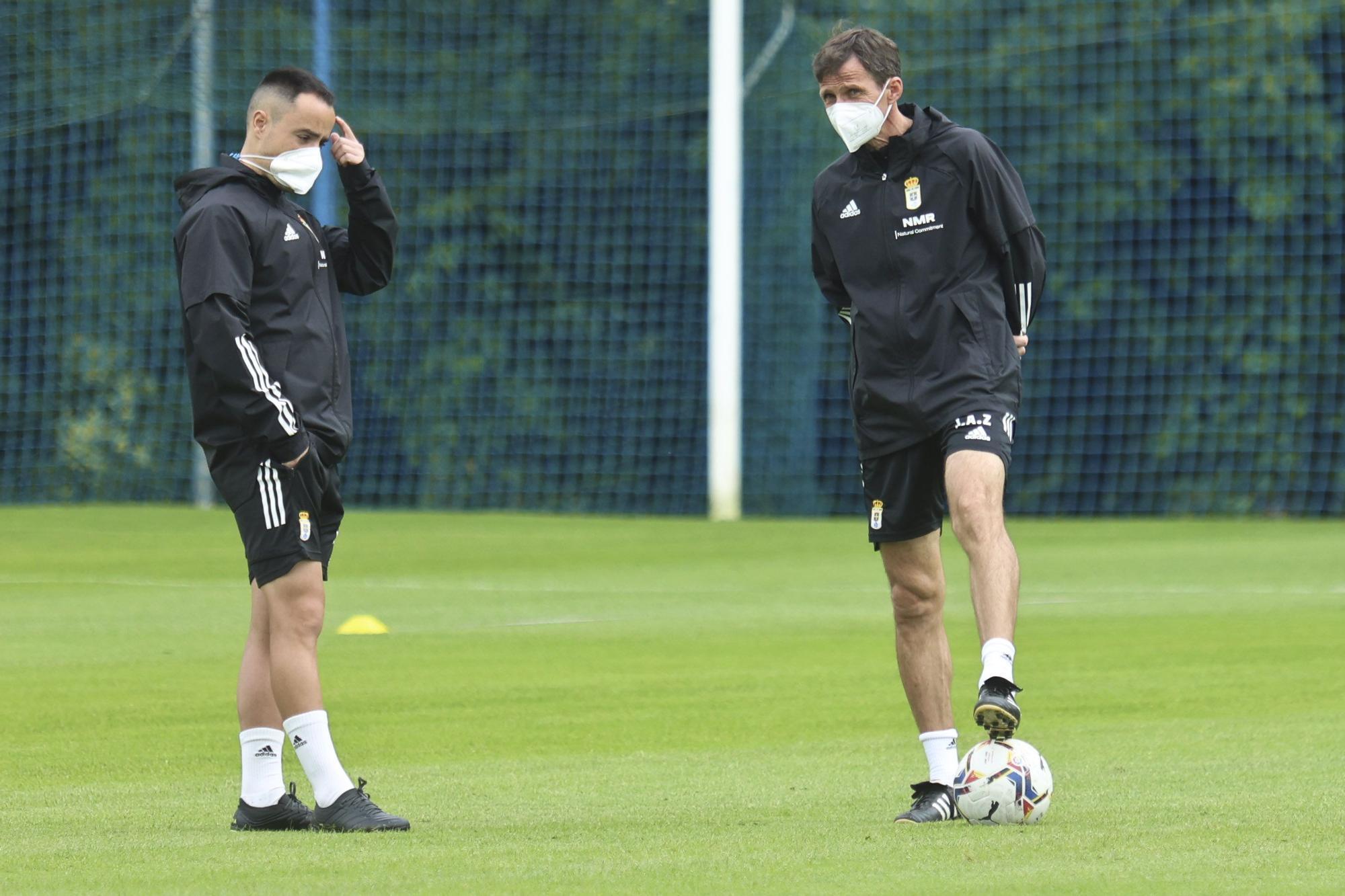 El entrenamiento del Oviedo tras perder en Girona