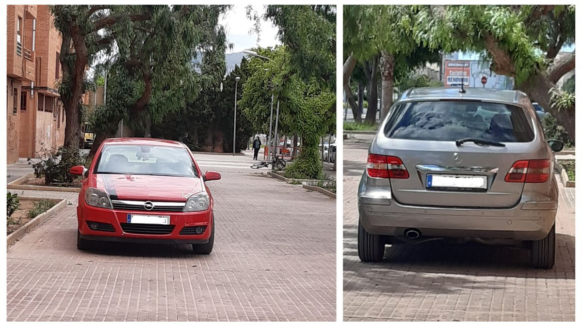 Imagen de coches estacionados dentro de un parque en la Avenida Barcelona de Castelló. Una práctica habitual según los propios vecinos.