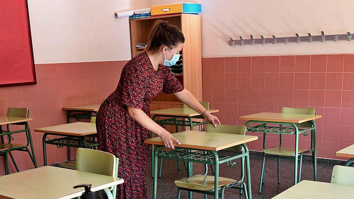 Un aula del colegio Curros Enríquez.