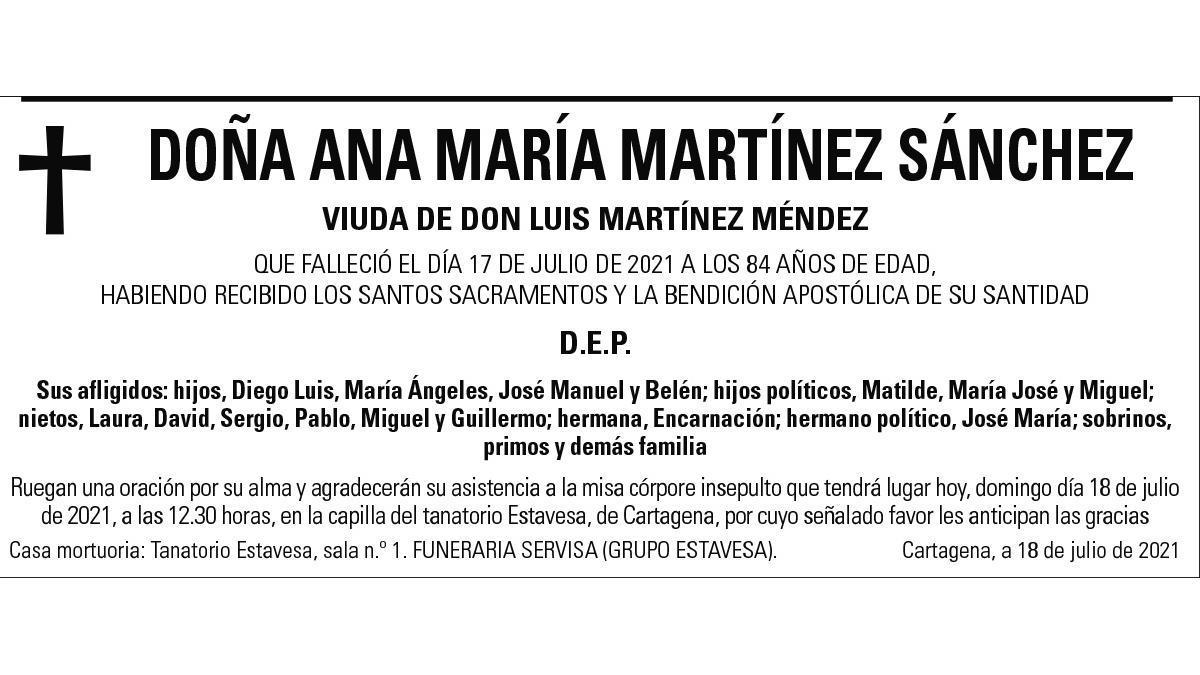 Dª Ana María Martínez Sánchez