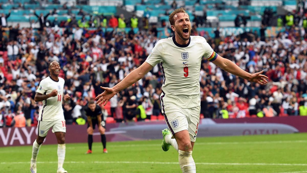 Harry Kane celebra su gol ante Alemania.