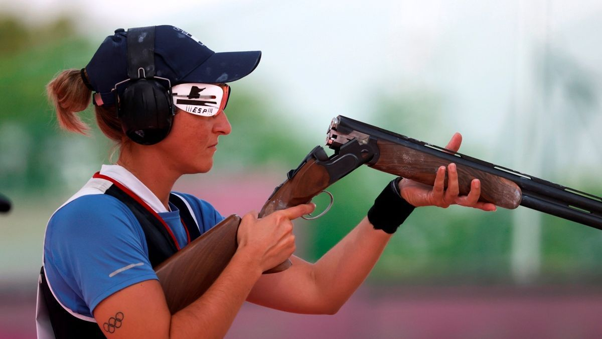 Fátima Gálvez, durante la segunda jornada de las eliminatorias de foso olímpico individual de los Juegos de Tokio.