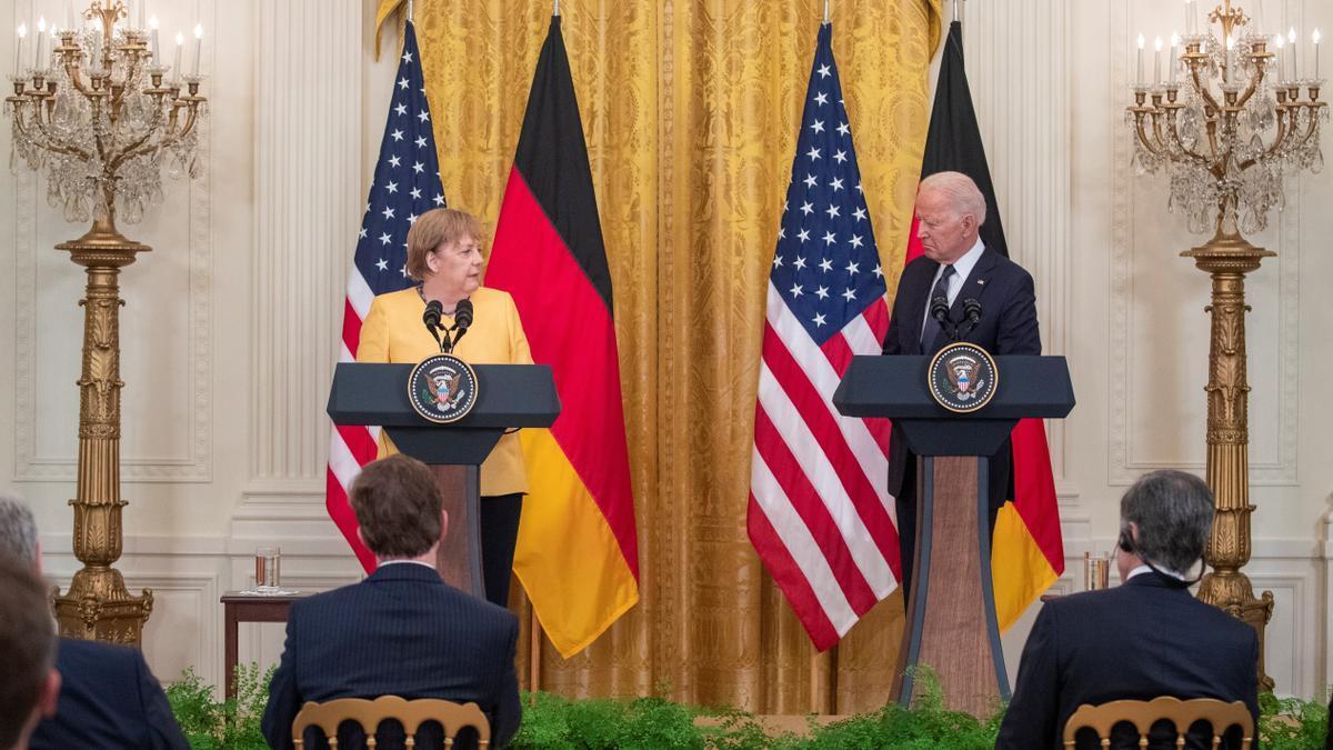 La canciller alemana, Angela Merkel, y el presidente de EEUU, Joe Biden.