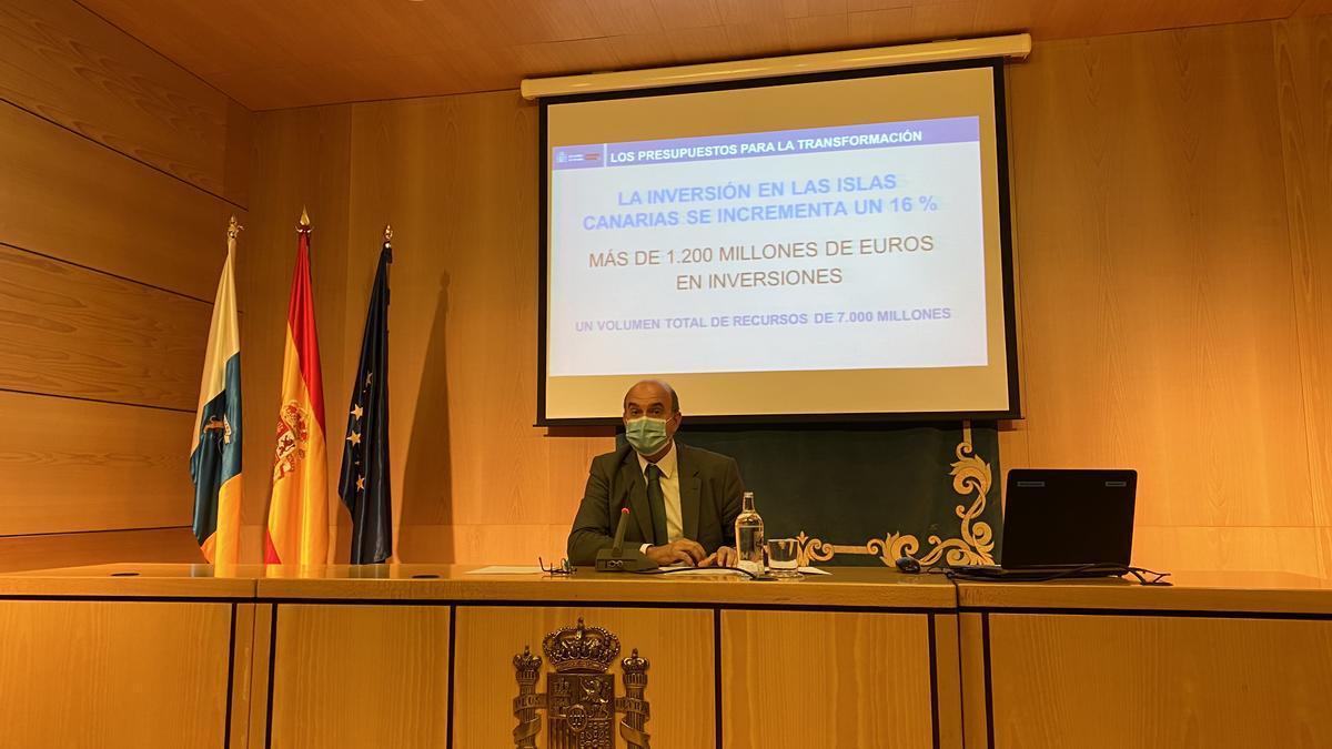 Anselmo Pestana durante la presentación de los PGE de 2021 para Canarias