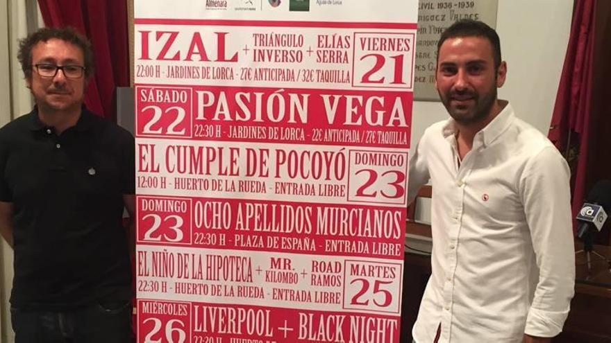 Izal, Pasión Vega y Sergio Dalma serán los platos fuertes de la Feria