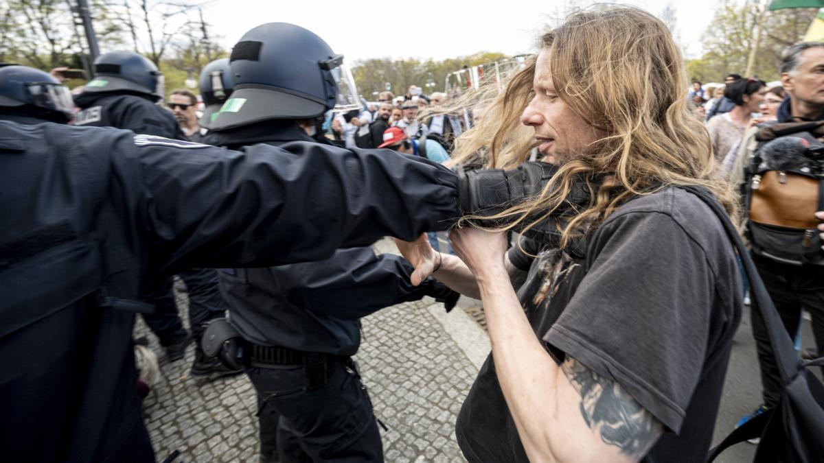 Imagen de una protesta contra las medidas de restricción en Berlín.