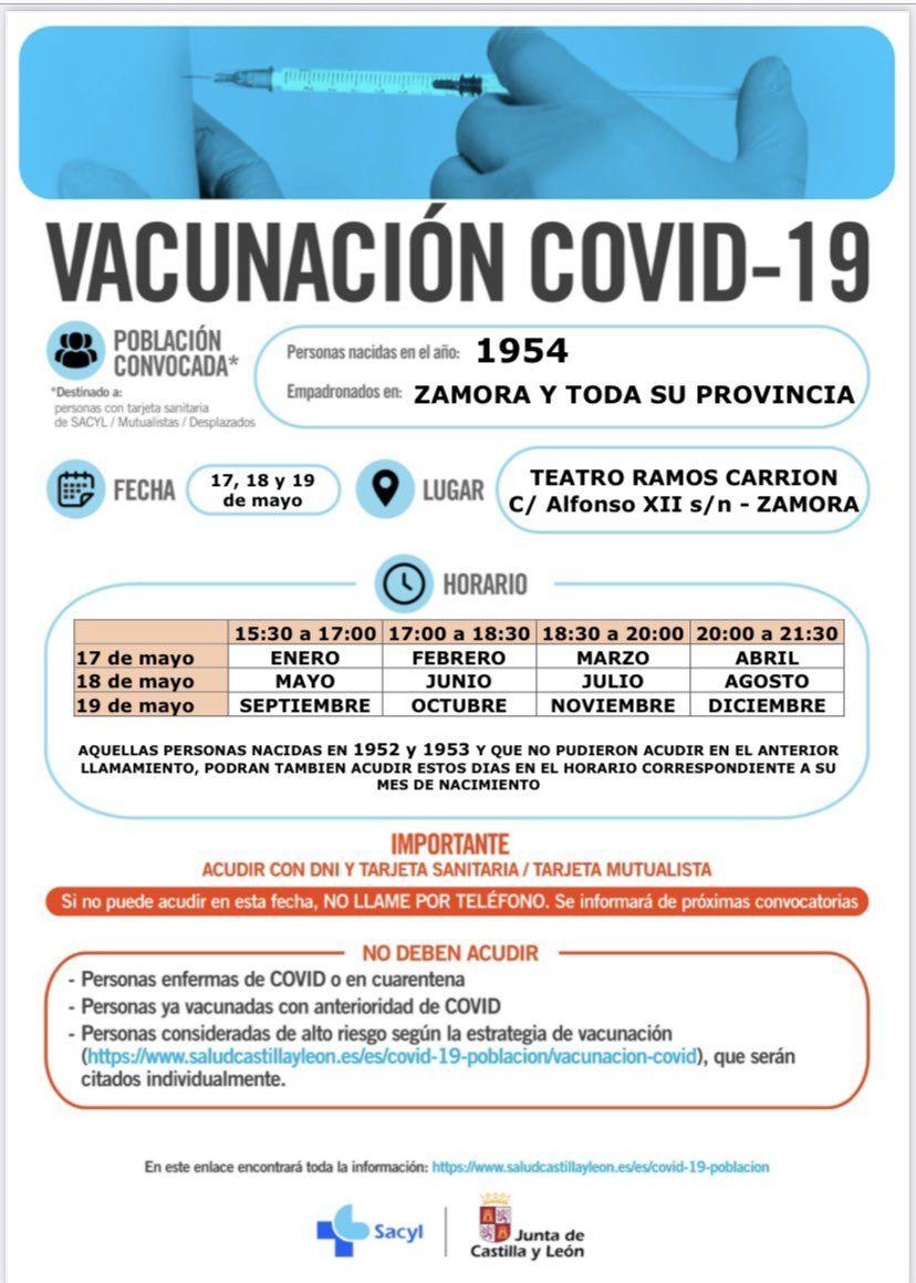 Campaña de vacunación de la generación de 1954 en Zamora.