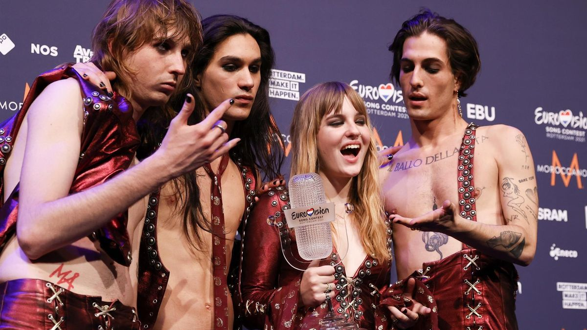 Los miembros del grupo italiano Maneskin, ganadores de Eurovisión.