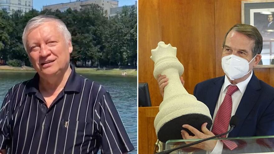 Karpov reta a Abel Caballero a un partida de ajedrez en Vigo