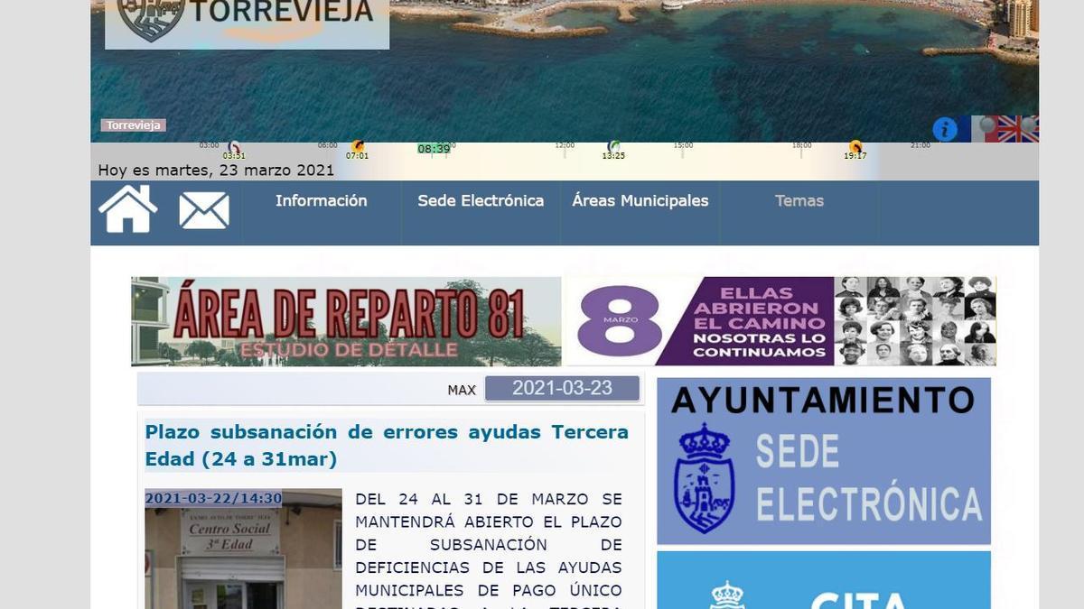 Aspecto actual del portal web del Ayuntamiento de Torrevieja