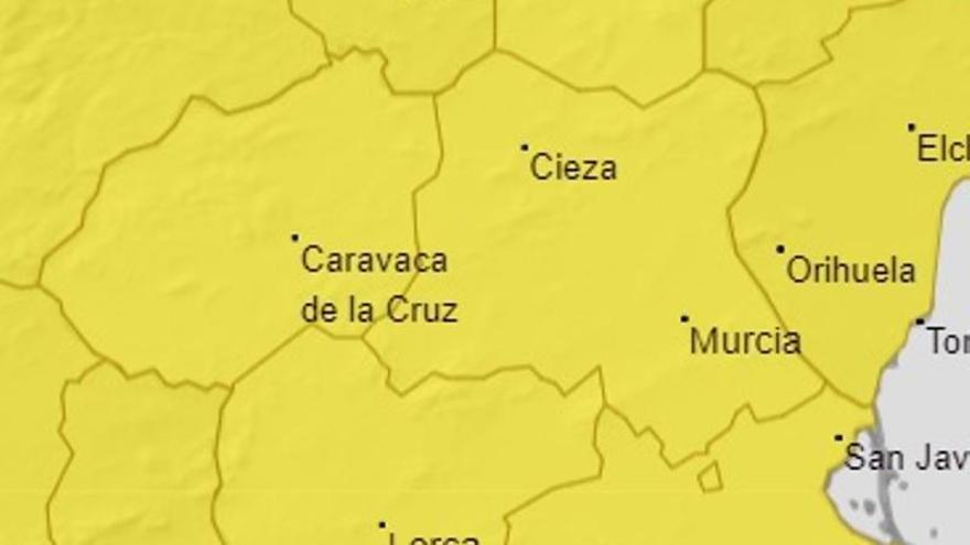 Aviso amarillo por fuertes lluvias mañana en la Región