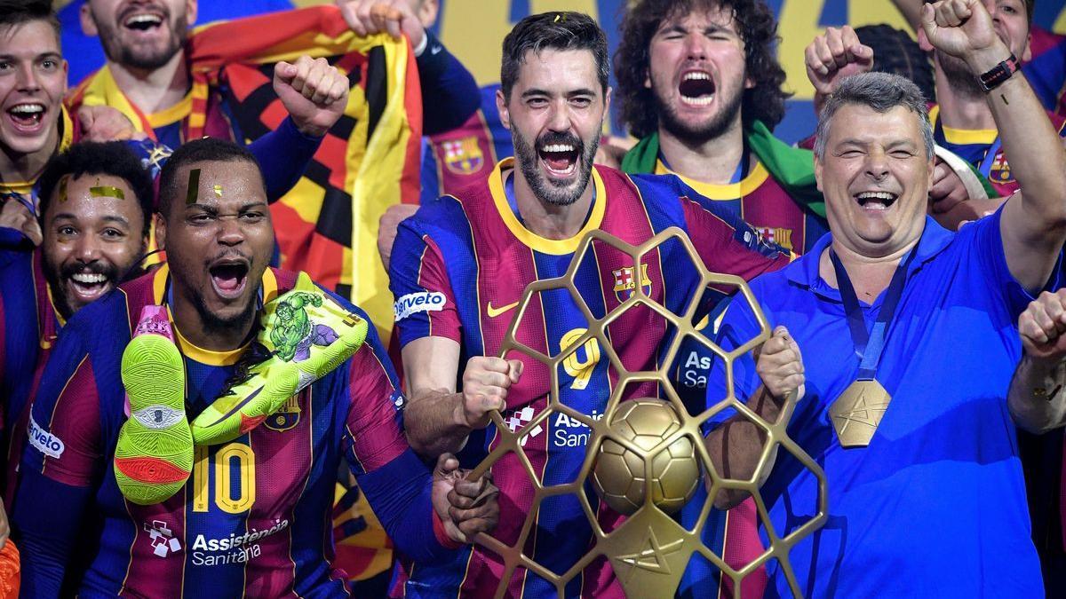 Los azulgranas celebran la Champions en Colonia
