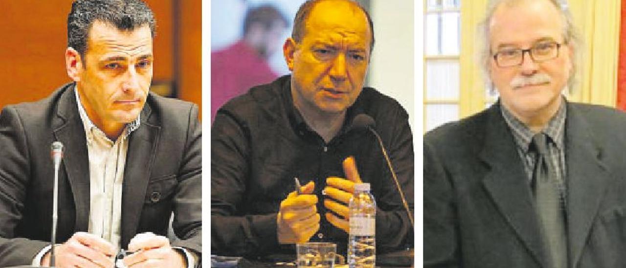 Los directores de À Punt, TV3 e IB3, Alfred Costa, Vicent Sanchis y Andreu Manresa. | M.Á. MONTESINOS/LEVANTE-EMV