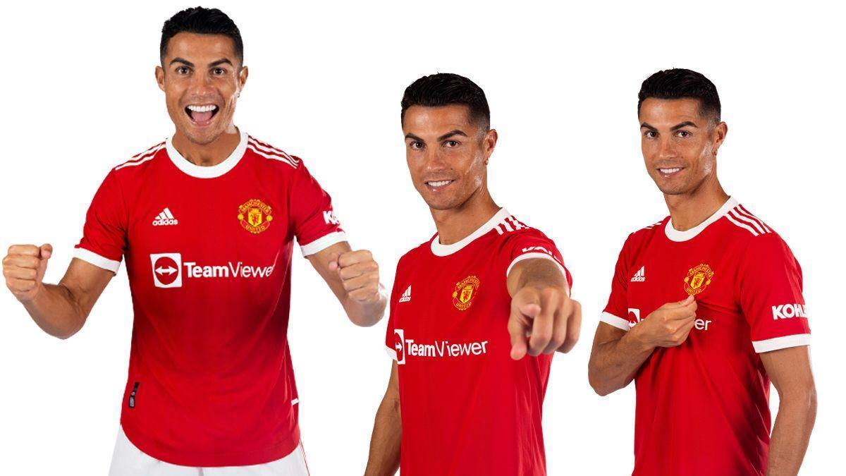 Cristiano Ronaldo posa con la camiseta del Manchester United.