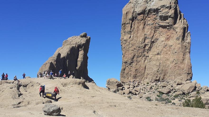 El GES rescata a una senderista herida tras sufrir una caída en el Roque Nublo