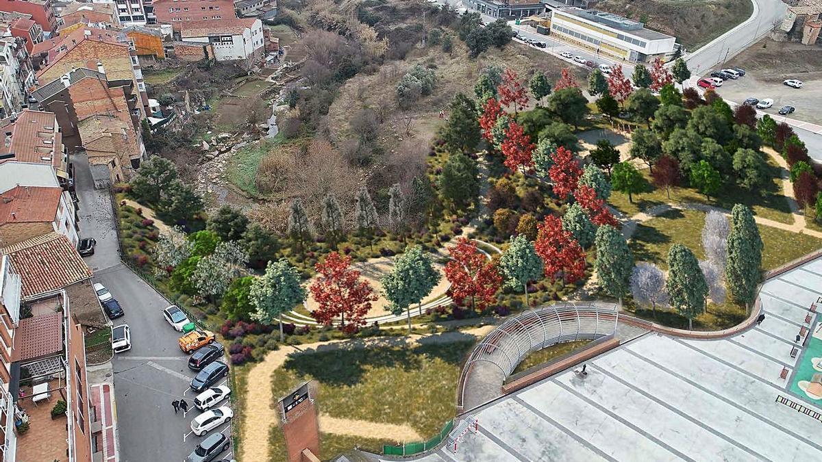 Una recreació de la futura imatge del parc central de Puig-reig | AJUNTAMENT DE PUIG-REIG