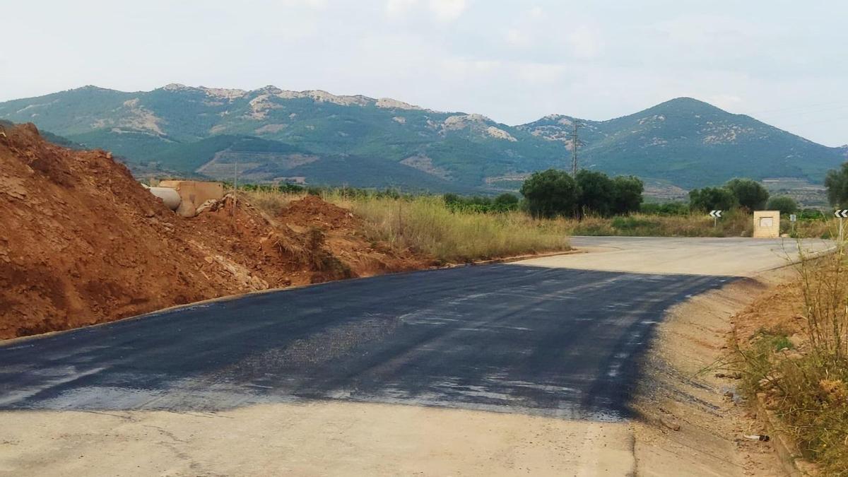 Estado de la carretera de Cosuenda tras los trabajos de rehabilitación de la DPZ